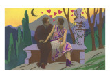 Art Deco Couple with Hearts Poster