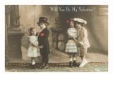 Will You Be My Valentine Two Child Couples Art