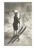 Boy on Skis on Country Road Posters