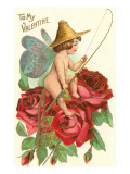 To My Valentine, Fishing Cupid in Roses Prints