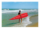 Surfer with Elongated Heart Board Posters
