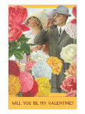 Will You Be My Valentine Couple Amid Flowers Prints