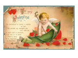 Valentine Poem, Cupid with Umbrella Prints