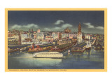 Night, Streamlined Ferry, Seattle, Washington Print