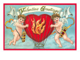 Valentine Greetings, Cupids with Flaming Hearts Art