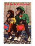 Will You Be My Valentine Chimps with Heart Suitcases Art