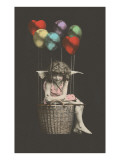 Girl Cupid in Balloon Poster