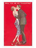 Will You Be My Valentine Twenties Couple Kissing Posters