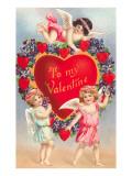 A mi Valentín, cupidos alrededor de un corazón Lámina giclée premium