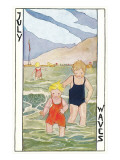 July Waves, Children Bathing in Sea Posters