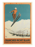 French Ski Poster with Ski Jumper Pôsters