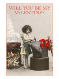 Little Girl at Anvil, Valentine Posters