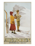 Old Time Skiers, Adelboden, Switzerland Print