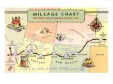 Mileage Chart Showing Distances Between Harvey Hotels Prints