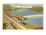 Lock on Monongahela River, Pittsburgh, Pennsylvania Prints