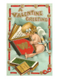 A Valentine Greeting, Cupid Reading Prints