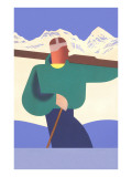 Stylized Skier in Mountains Prints
