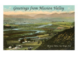 Greetings from Mission Valley, San Diego, California Posters
