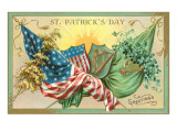 St. Patrick's Day, American and Irish Flags Plakaty