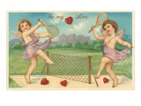 To My Love, Cupids Playing Tennis Prints