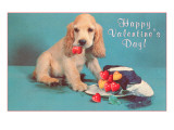 Happy Valentines Day, Cocker Spaniel Puppy Art