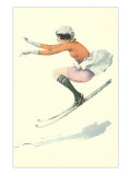 Graceful Lady Skiing Moguls Posters