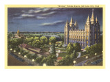 Night, Mormon Temple Square, Salt Lake City, Utah Prints