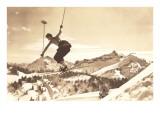 Bare-Chested Airborne Skier Kunstdrucke