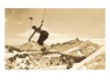 Airborne Skier over Landscape Giclée-Premiumdruck