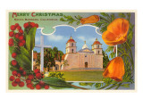 Merry Christmas, Mission, Santa Barbara, California Poster