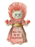 Cat in Dress, Valentine Prints