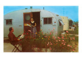 Couple in Old Trailer Park Poster