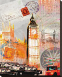 London Vintage Stretched Canvas Print by Robin Jules