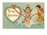To My Valentine, Cupids with Rope Prints