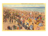 Summer Crowds at Mission Beach, San Diego, California Art
