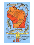 Fishing Map of Wisconsin Prints