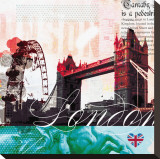 London Stamps Stretched Canvas Print by  Meringue