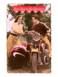 Wont You Be My Valentine Couple with Motorcycle and Sidecar Art