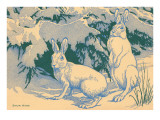 Woodcut of Snow Hare Posters
