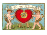 To My Valentine, Cupids with Heart Target Posters