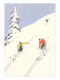 Downhill Skiers in Powder Poster