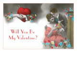 Old Fashioned Valentine Couple Prints