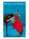 Will You Be My Valentine Poodle at Piano Posters