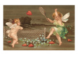 Cupids Playing Tennis Posters