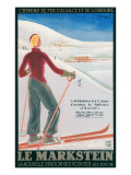 French Ski Poster with Woman Skier Art
