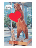 Will You Be My Valentine, Girl and Grizzly Bear Print