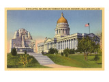State Capitol, Mormon Battalion Monument, Salt Lake City, Utah Poster