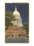 State Capitol at Night, Madison, Wisconsin Prints