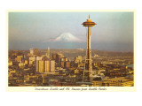 Space Needle, Mount Rainier  Seattle, Washington Kunstdrucke