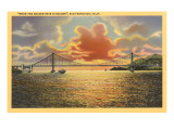 Sunset on Golden Gate Bridge, San Francisco, California Posters
